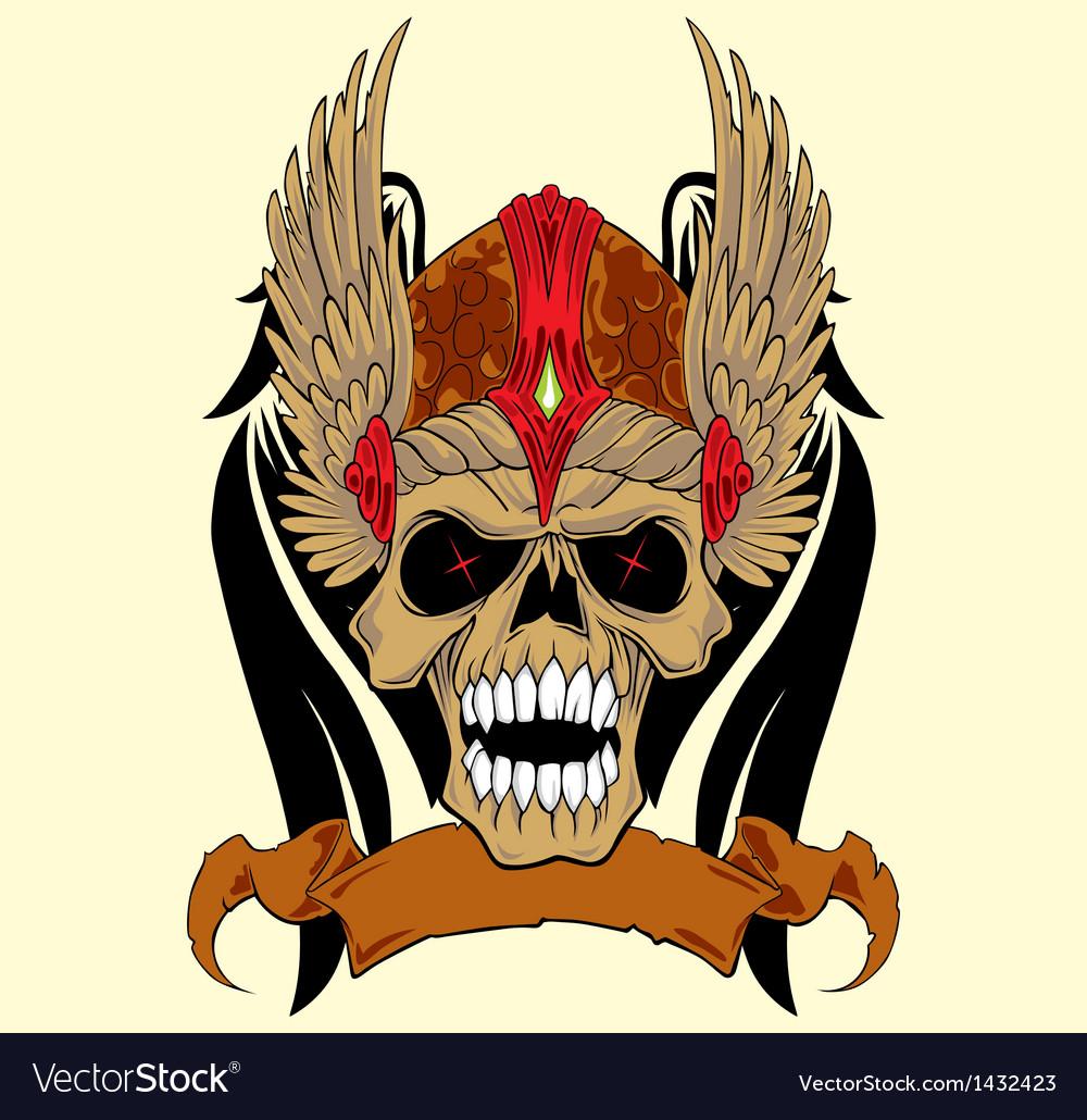 Skull in an ancient helmet of Vikings