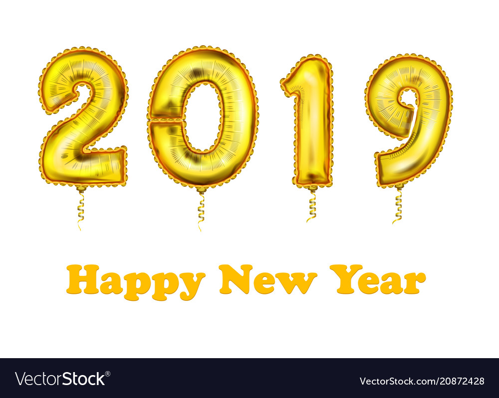 2019 new year count symbol balloon greeting