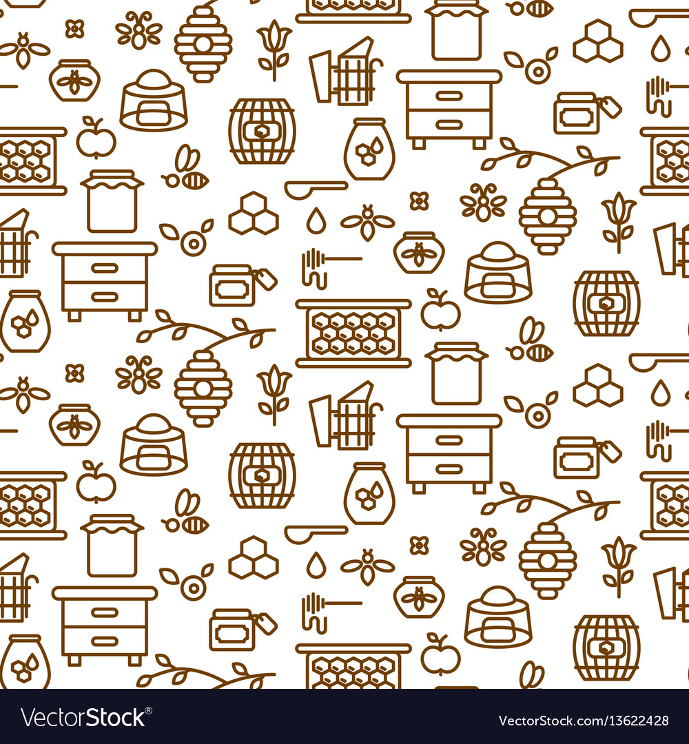 Apiary outline icon seamless pattern