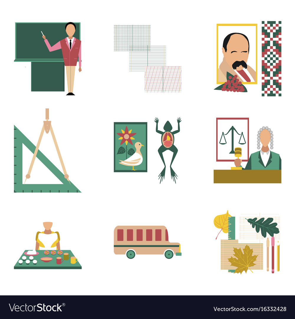 Assembly flat icons education school lessons