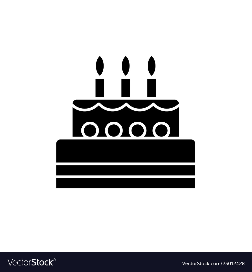 Sensational Birthday Cake Black Icon Sign On Isolated Vector Image Personalised Birthday Cards Paralily Jamesorg
