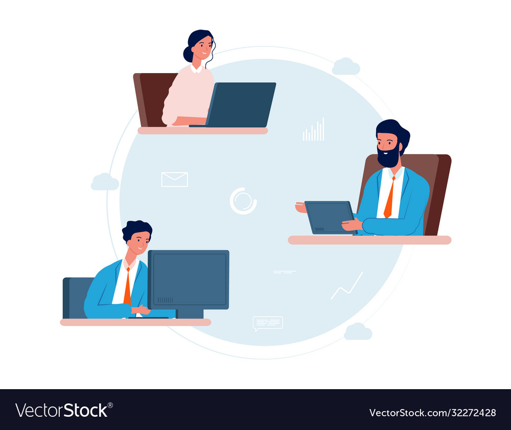 Cloud service people work remotely online