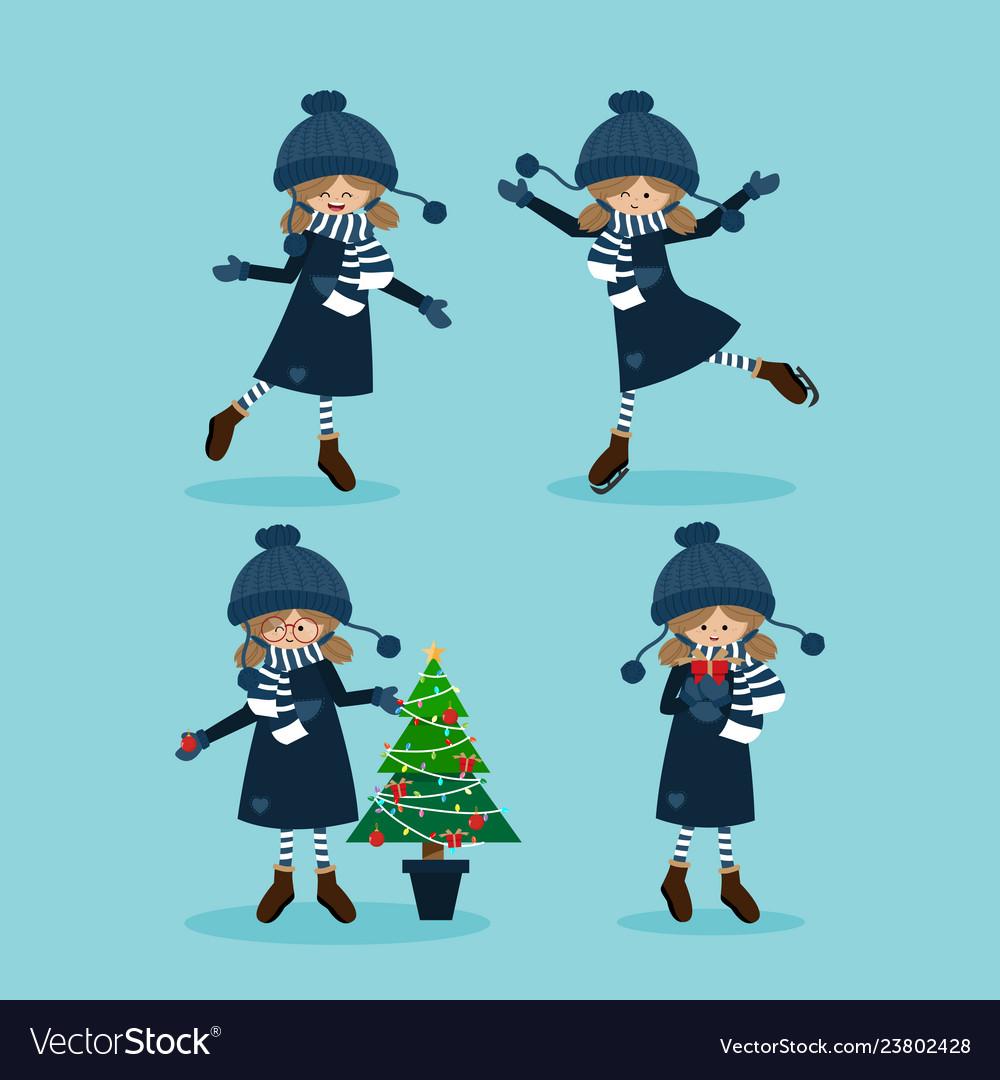 Cute girl in winter custom with christmas
