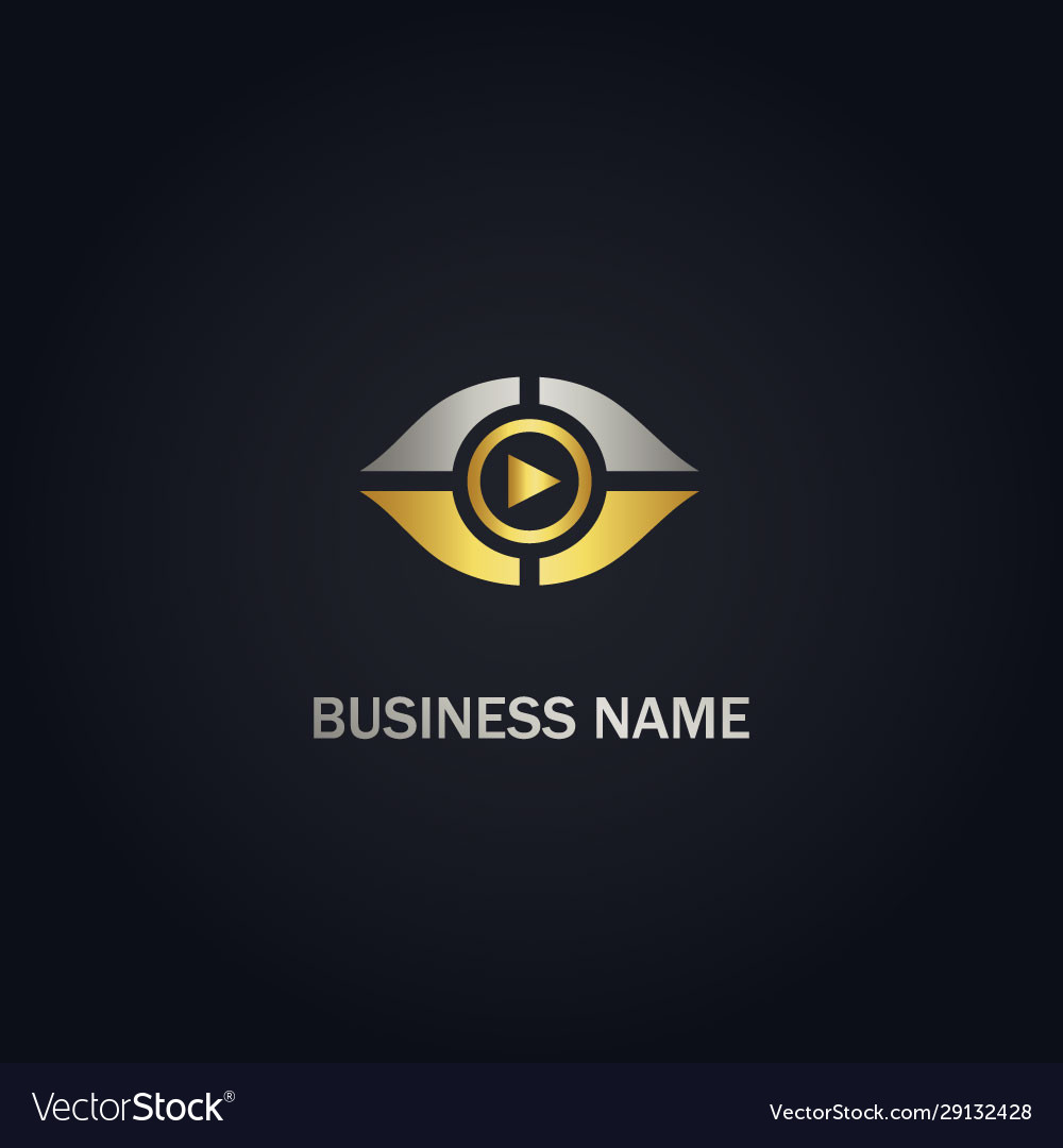 Eye music play gold logo