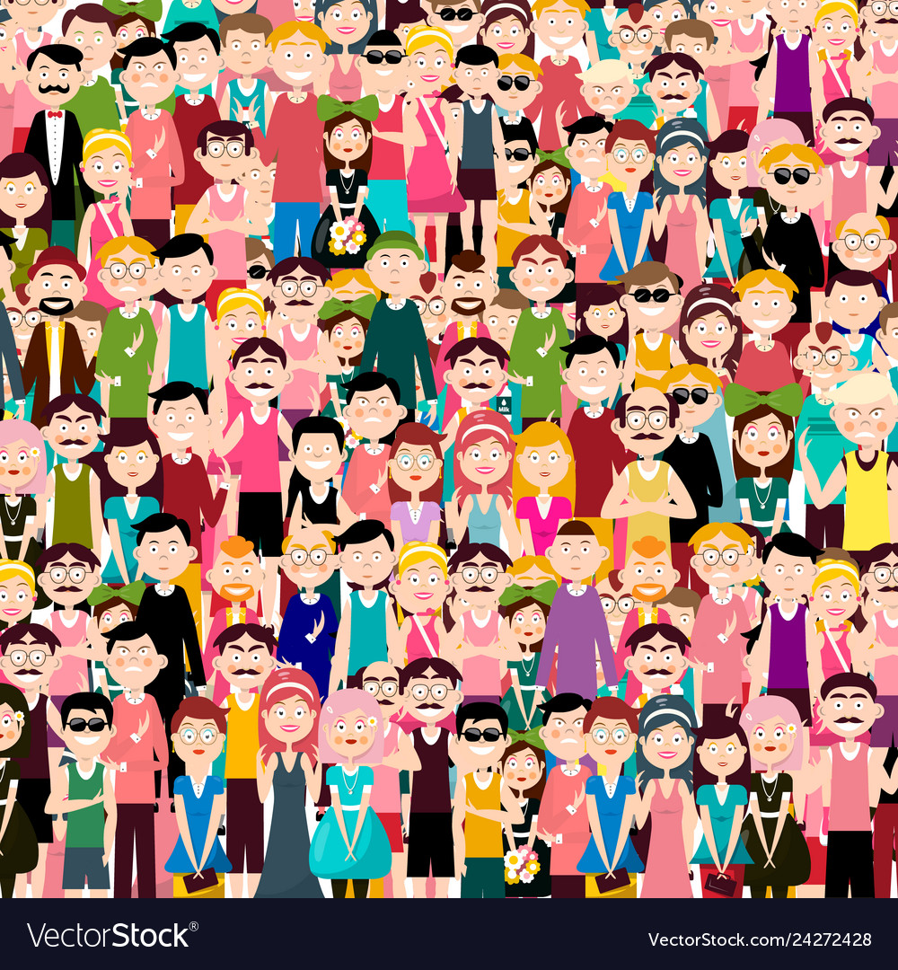 Group of people flat design men and women in