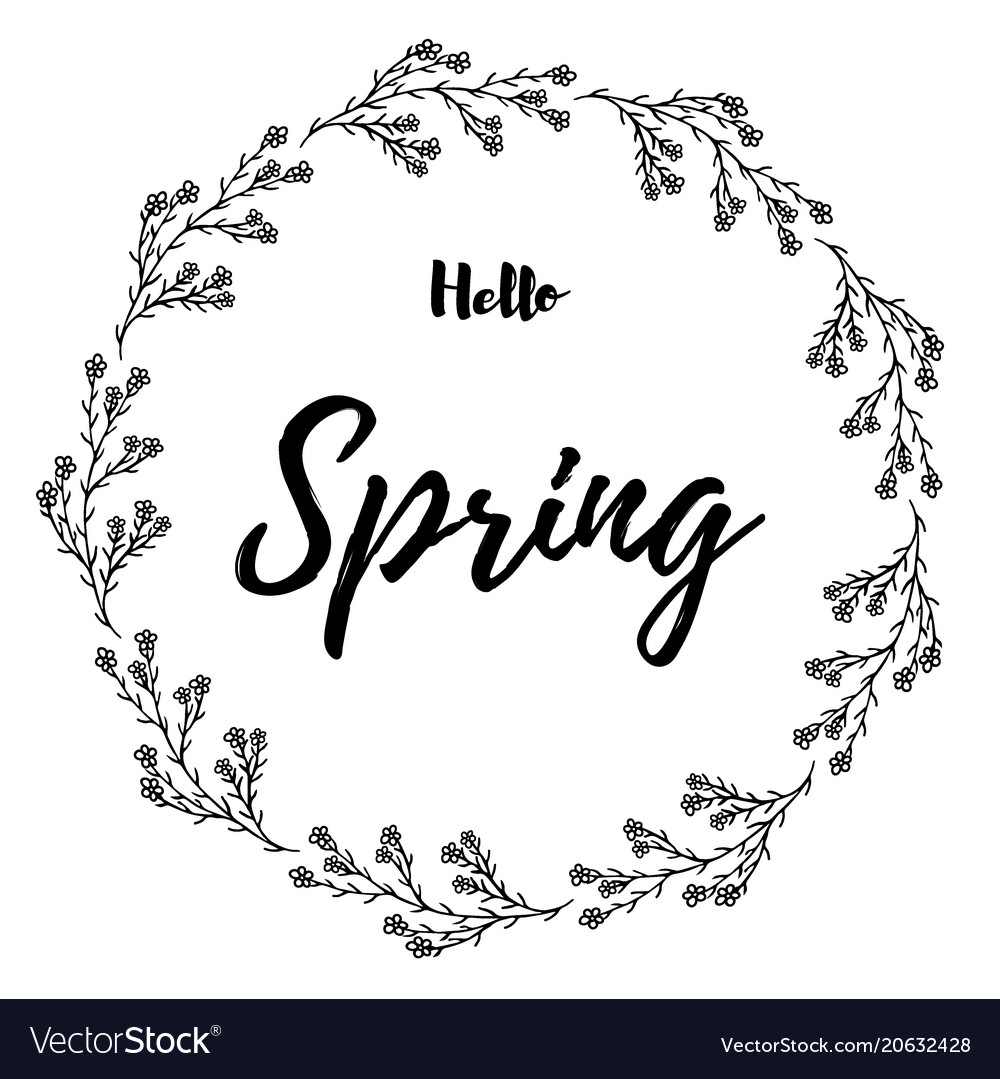 Hand drawn of lettering hello spring card