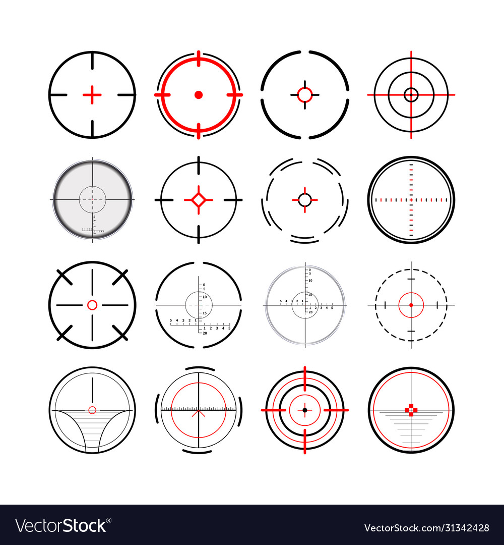 Large set different military crosshairs gun