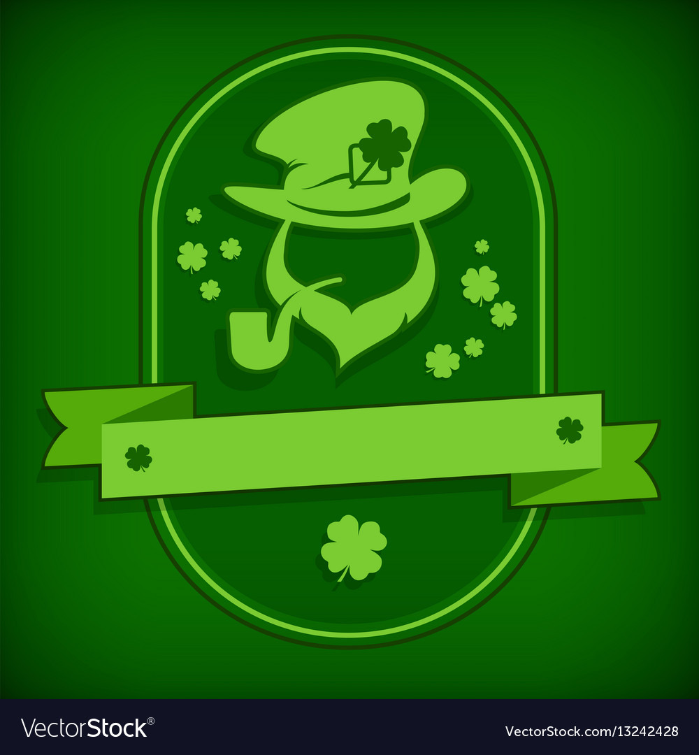 Leprechaun template in green Royalty Free Vector Image