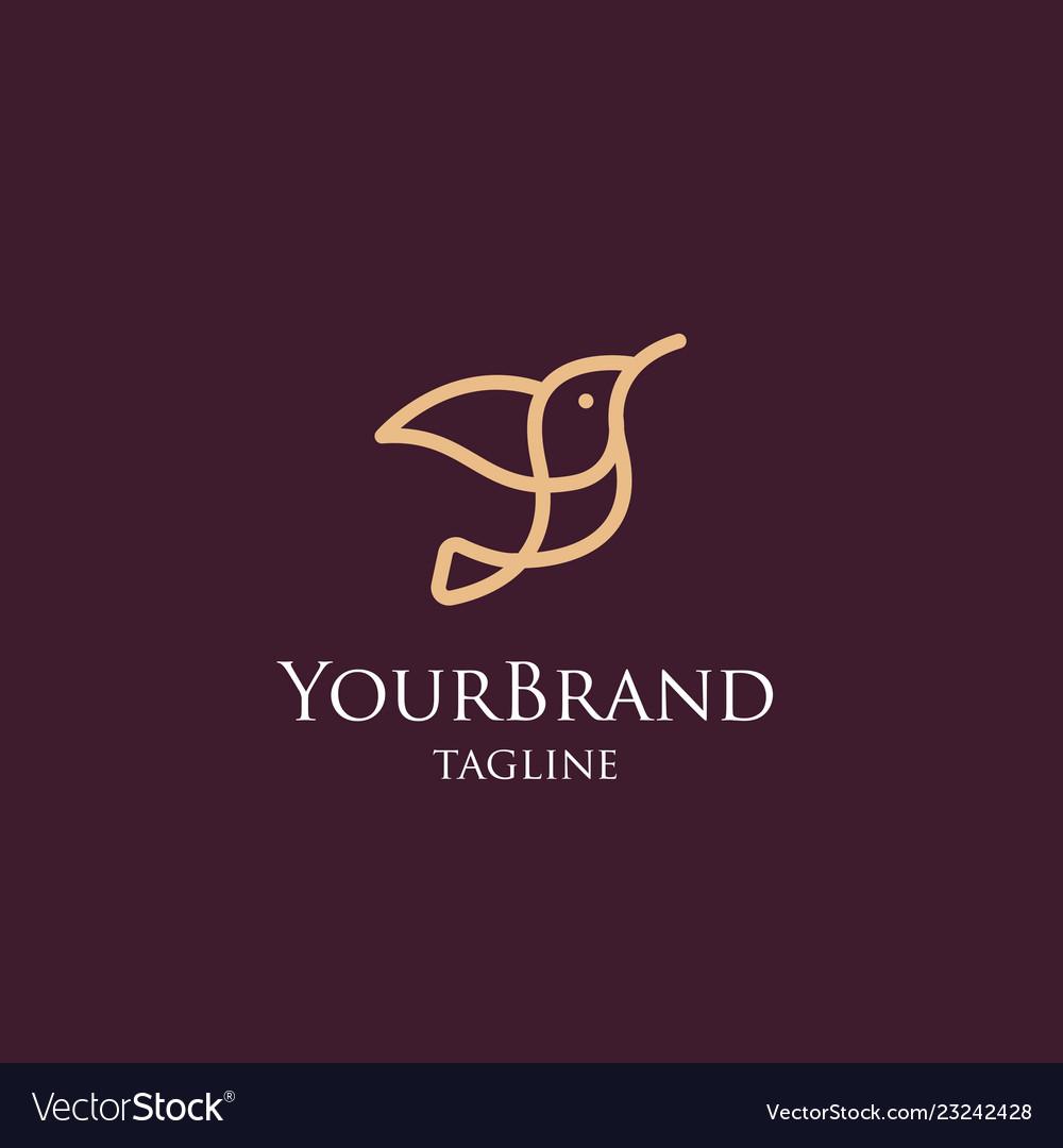 Luxury mono line bird logo template