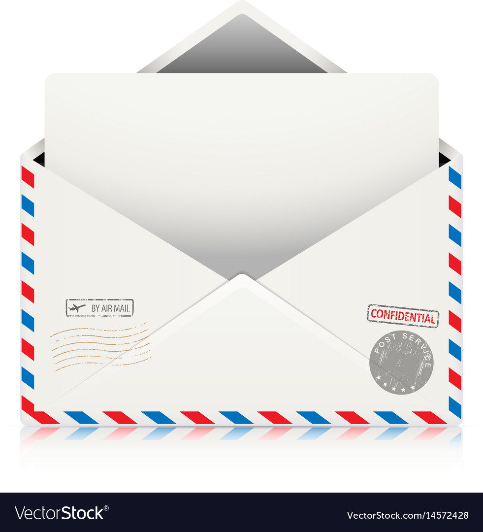 Mail air envelope with postal stamp