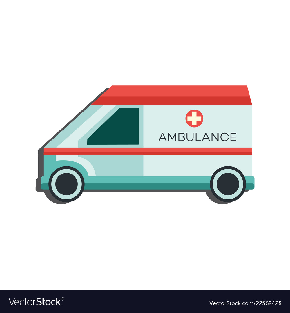 Medical emergency car icon - side view of
