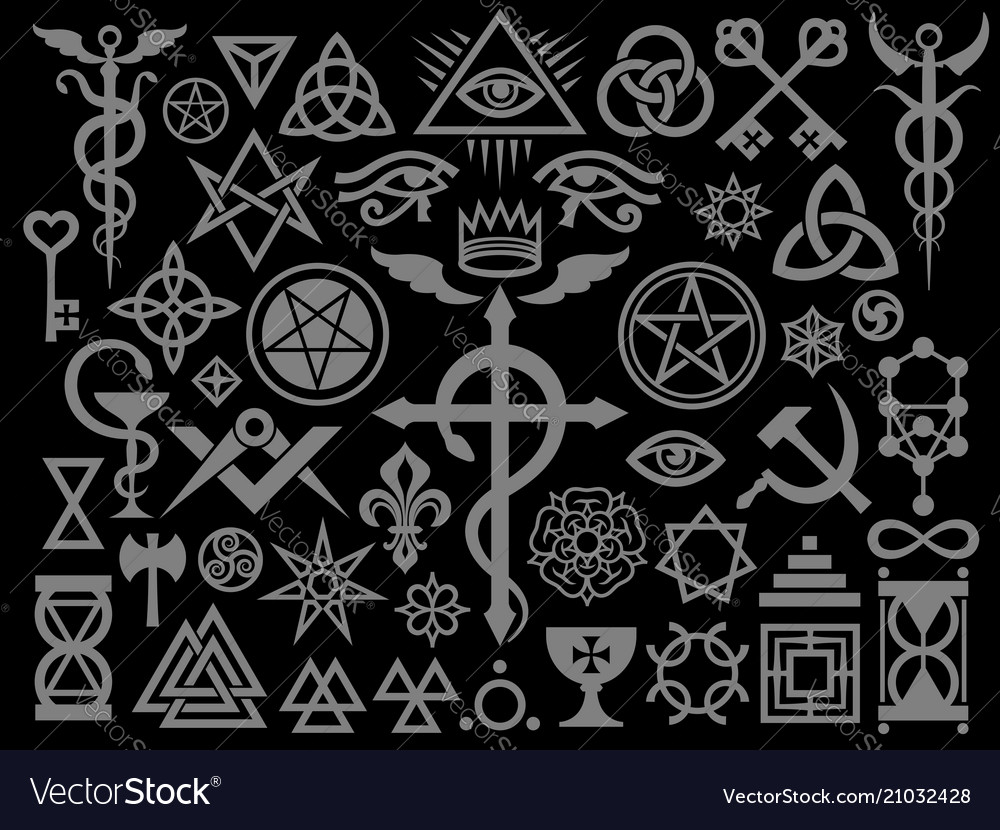 Medieval occult signs and magic stamps silver