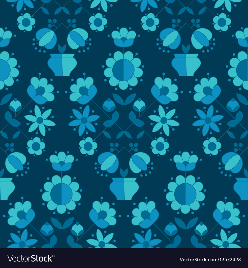 Peasant style simple floral pattern on blue color