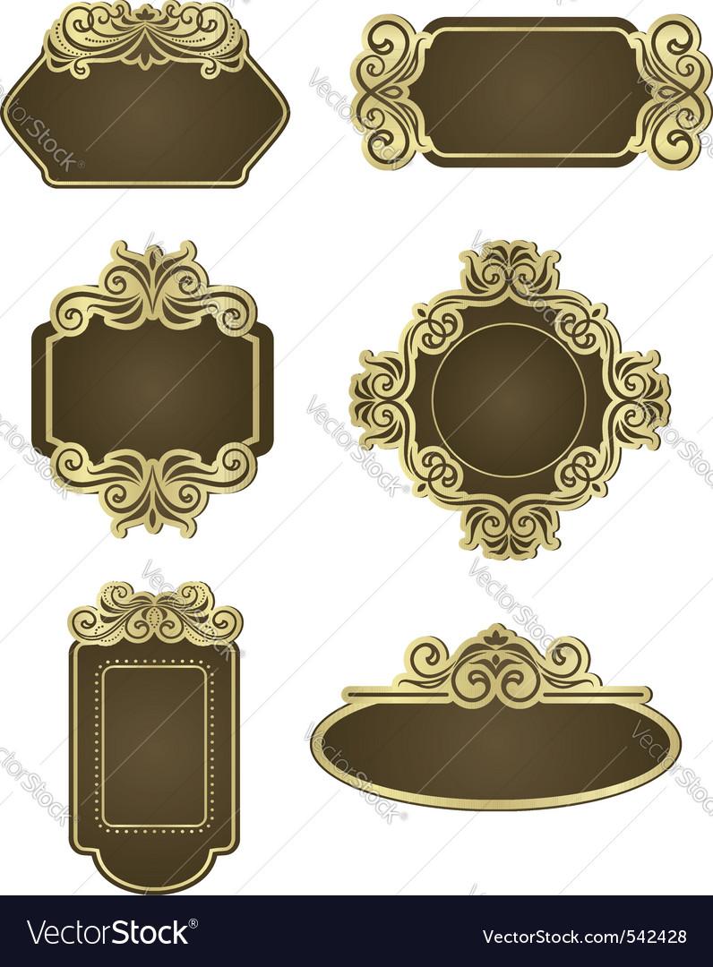 Description set of retro frames for wedding templates