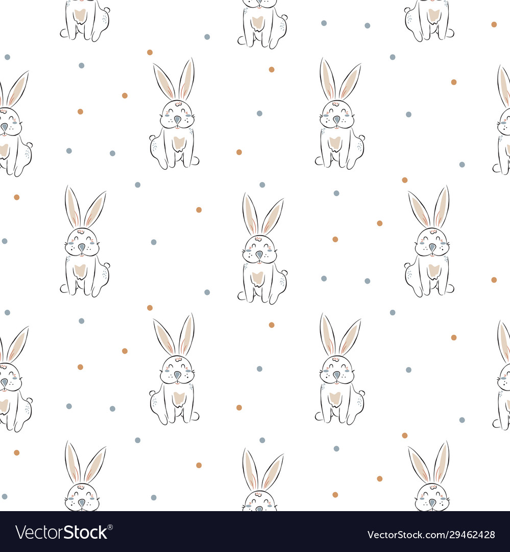 Seamless pattern with cute white rabbits doodle