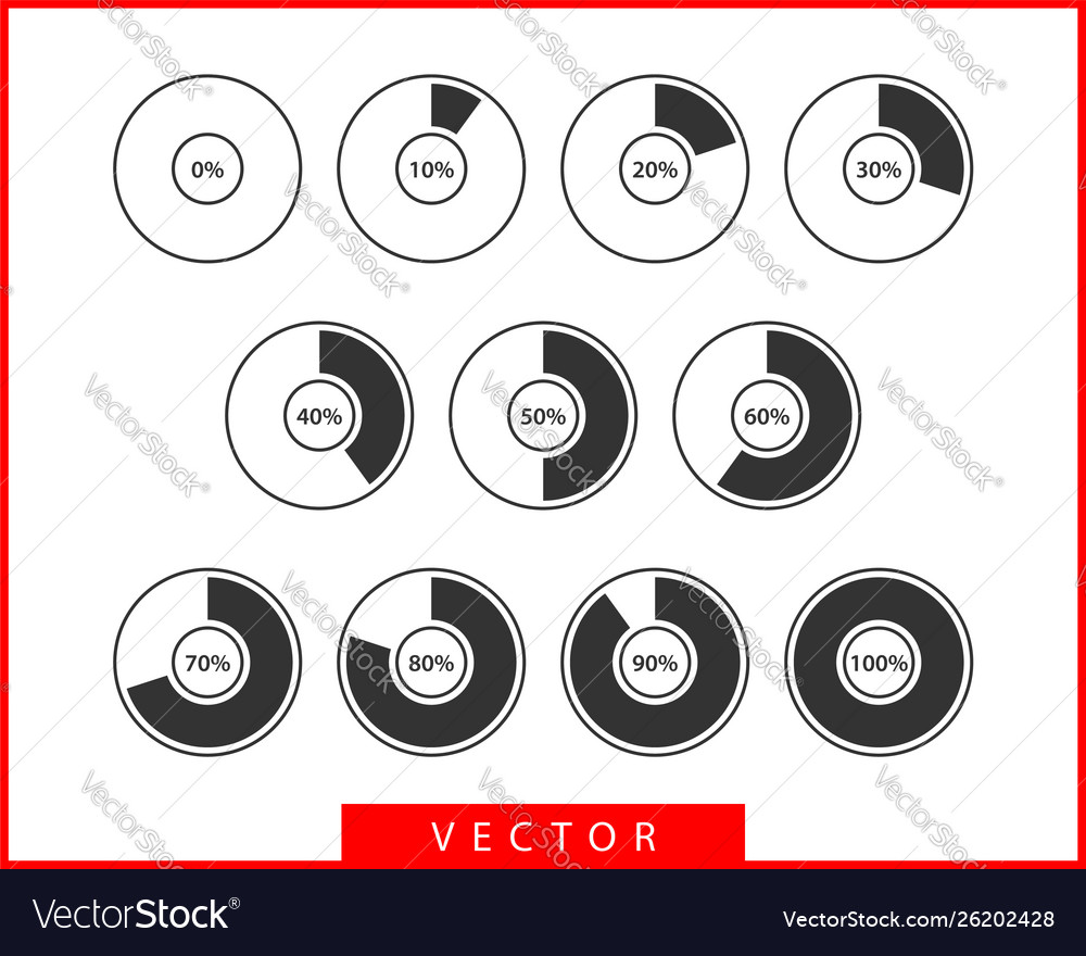 Set pie chart icons circle diagram collection