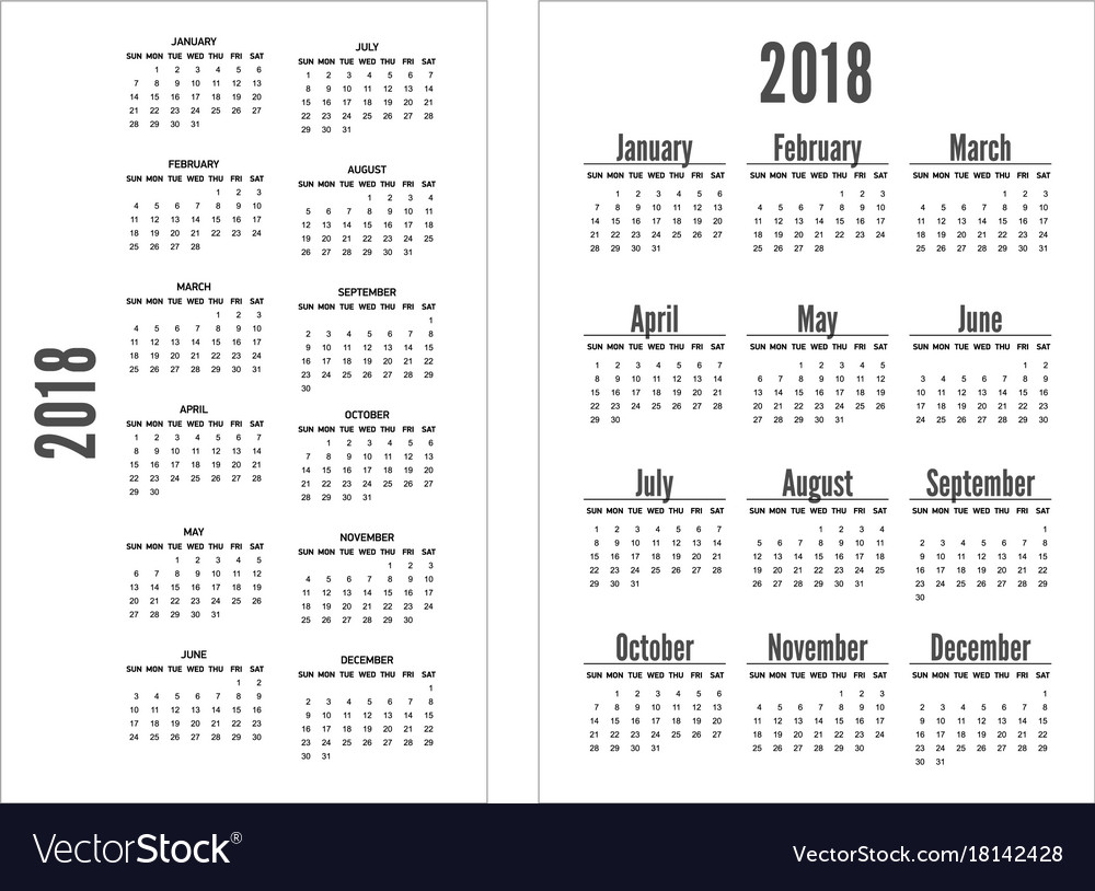 Simple black and white pocket calendar years
