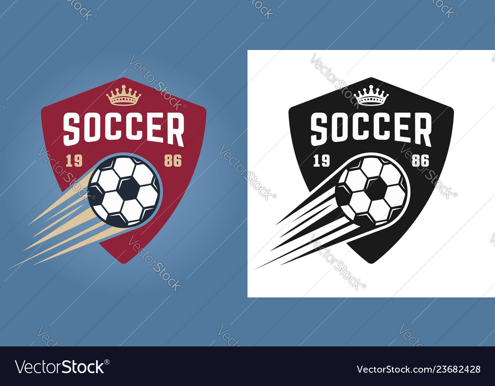Soccer two styles emblems with flying ball