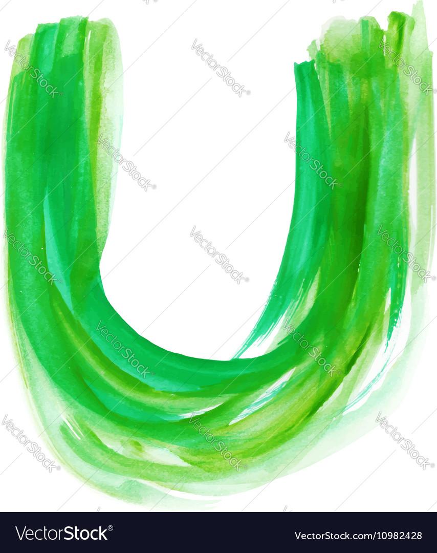 Watercolor Font LETTER U