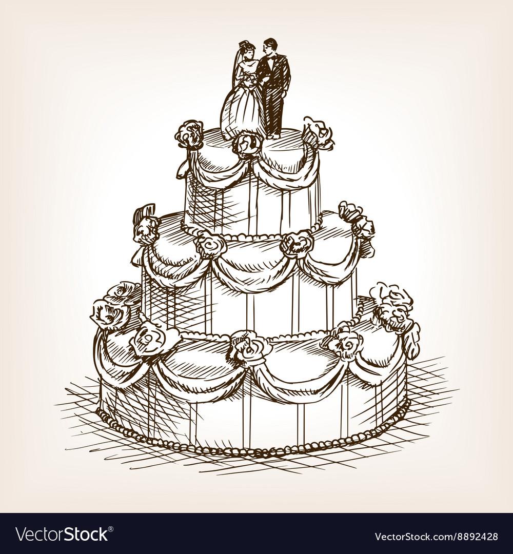 Wedding cake hand drawn sketch style vector image
