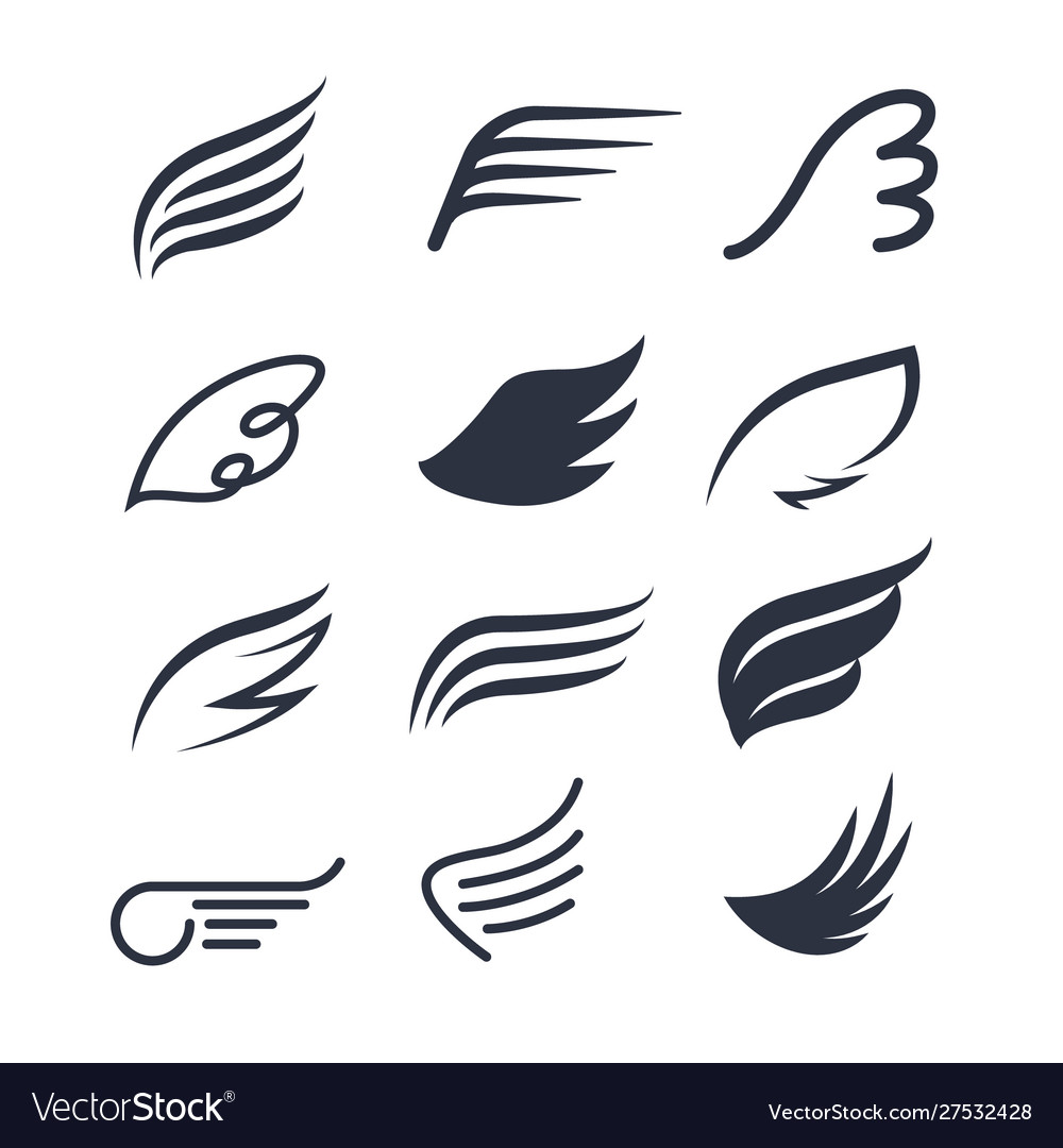 Wings icon set bird or angel wing