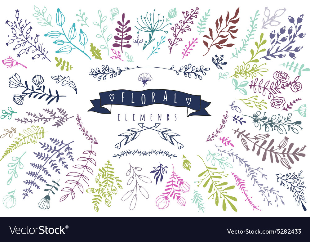 Big collection of different hand drawn floral vector image