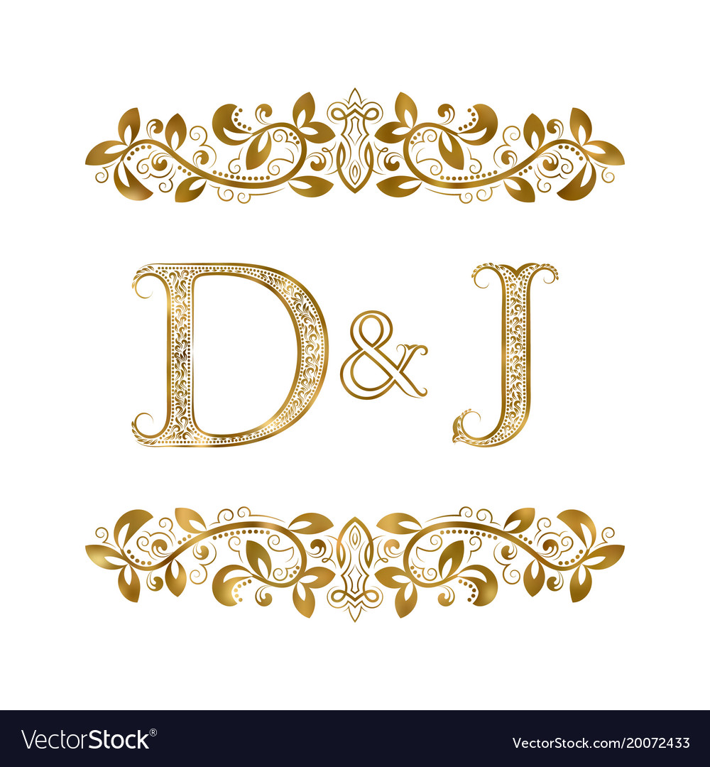 D And J Vintage Initials Logo Symbol The Letters Vector Image
