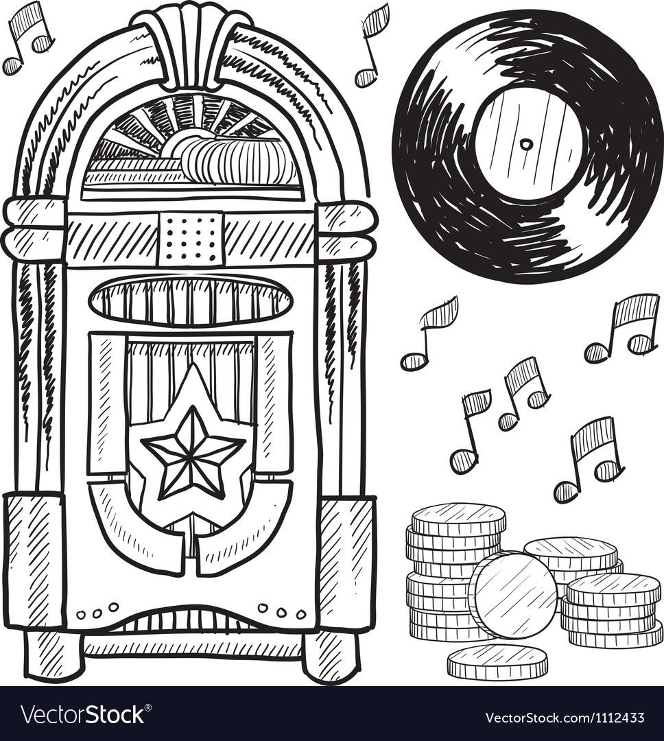 Doodle jukebox music vector image