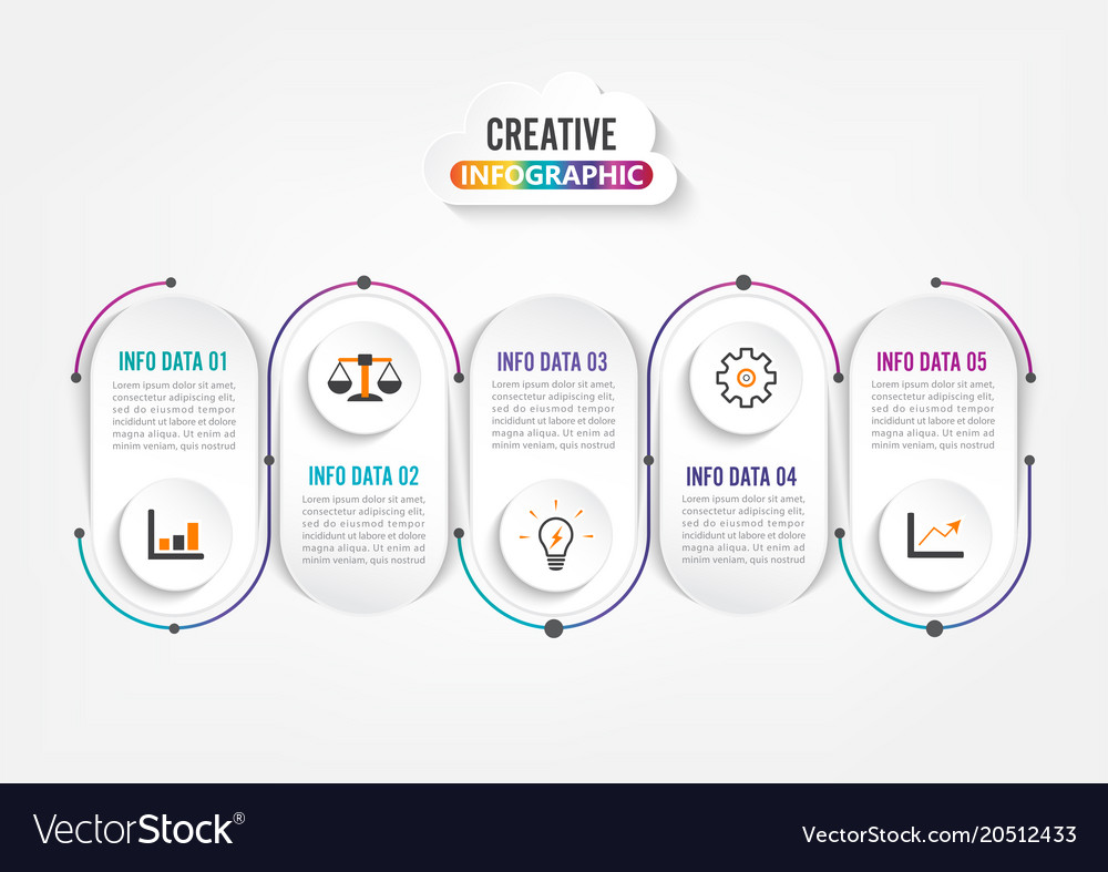 Five Steps Infographics Template For Brochure Vector Image
