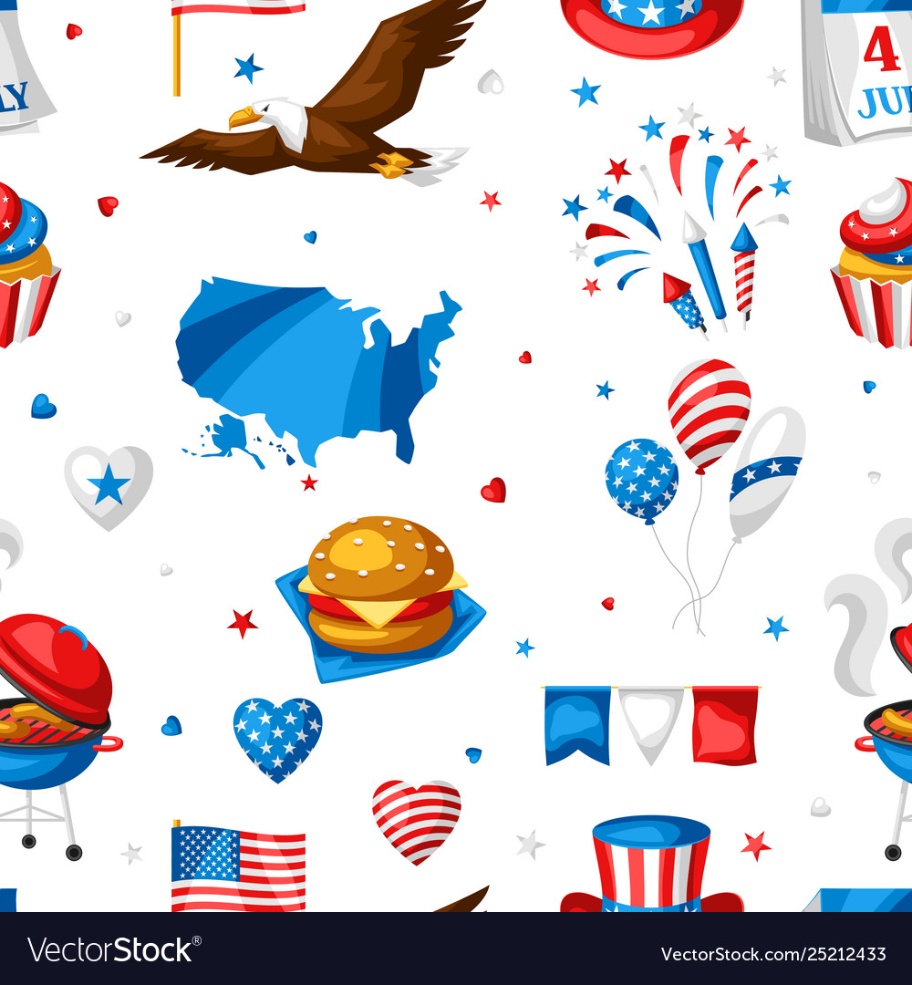 Fourth july independence day seamless pattern