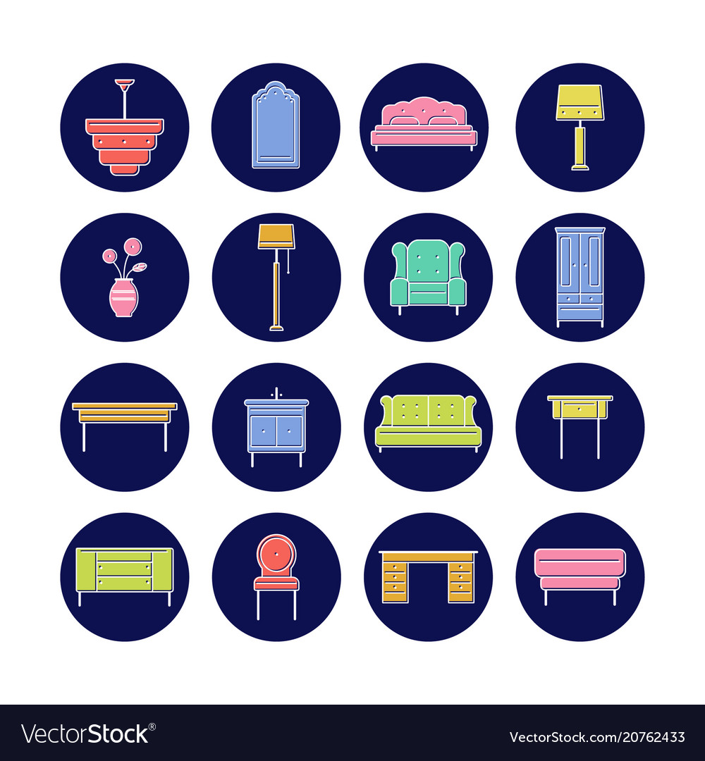 Furniture icon collection for print or web