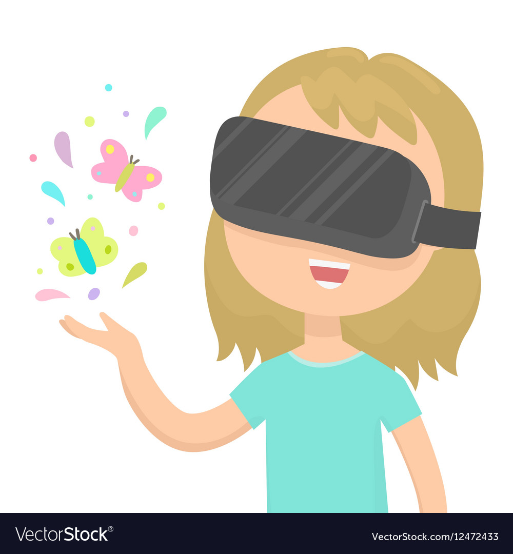Girl in a virtual reality glasses