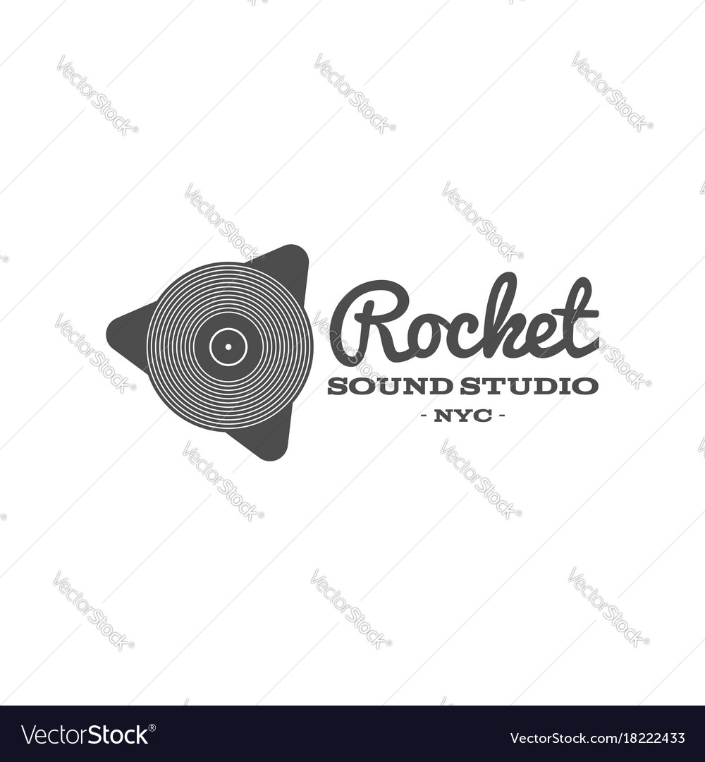 Rocket sound studio label badge emblem