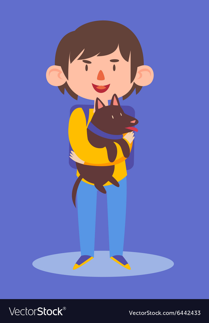 2e8ef37b6a School Boy Holding his Dog Royalty Free Vector Image