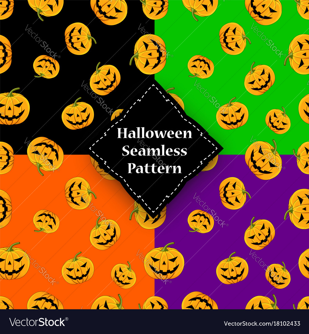 Seamless pattern pumpkin with eyes and mouth