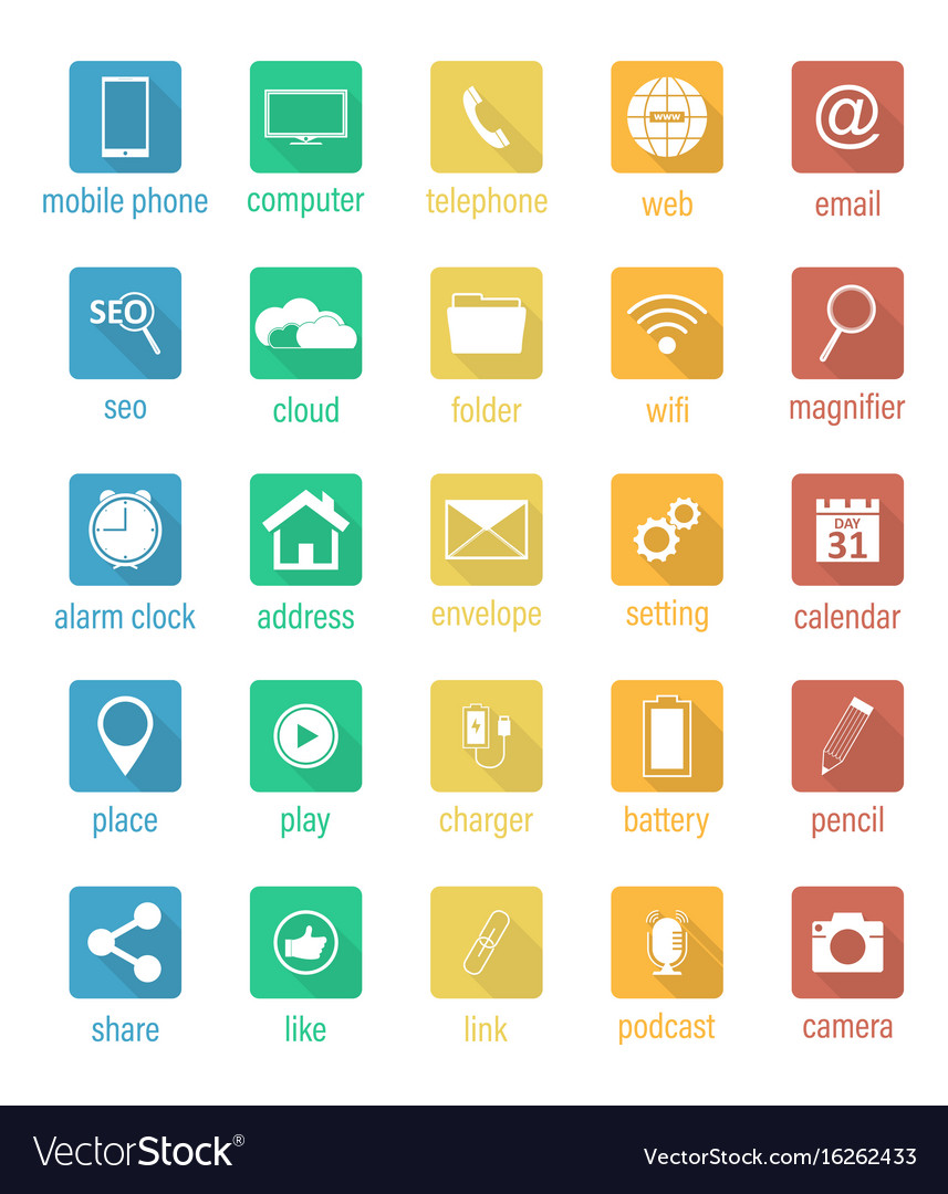 Set of flat square icons