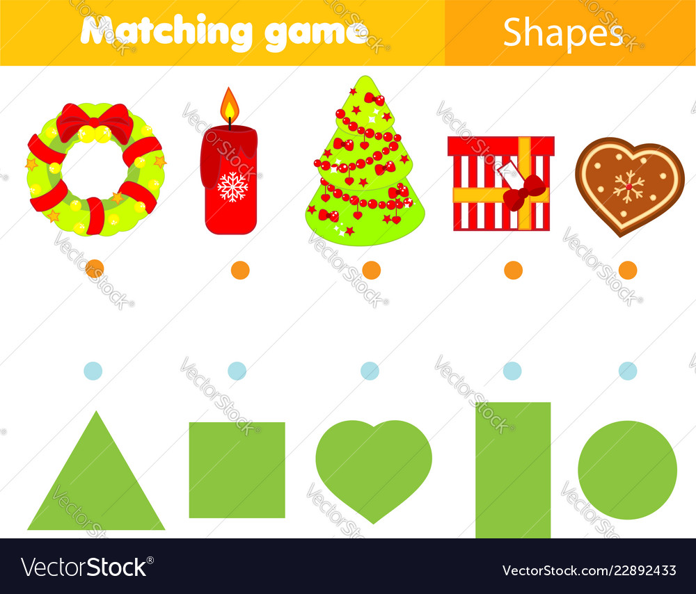 Christmas Vectors.Shape Matching Game Kids Activity With Christmas