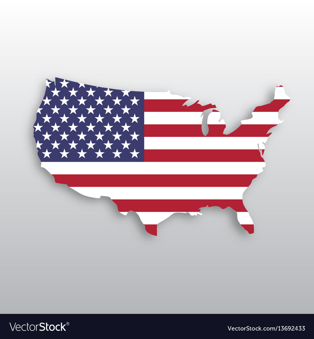 Usa flag in a shape of us map silhouette united