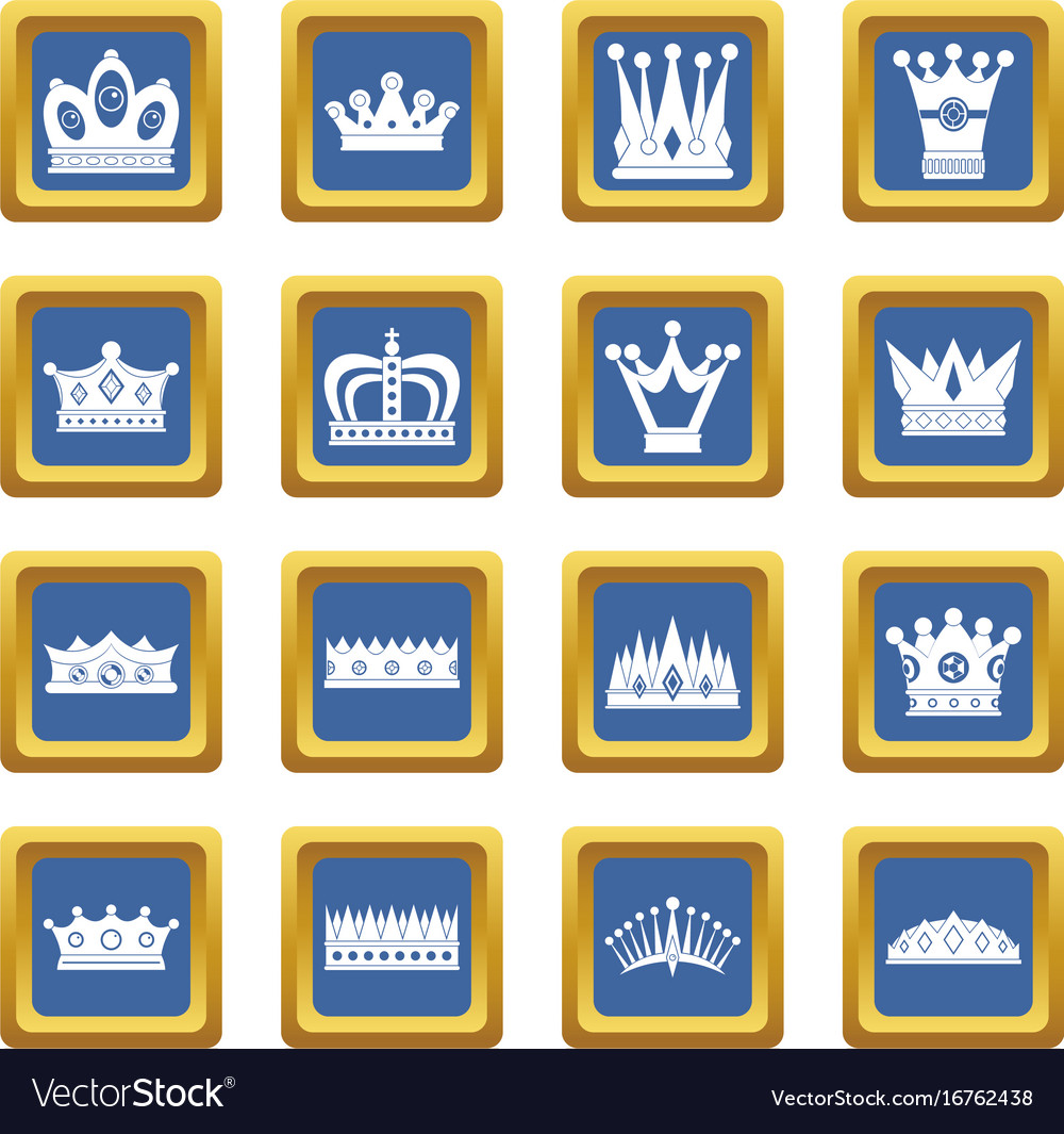 Crown icons set blue vector image
