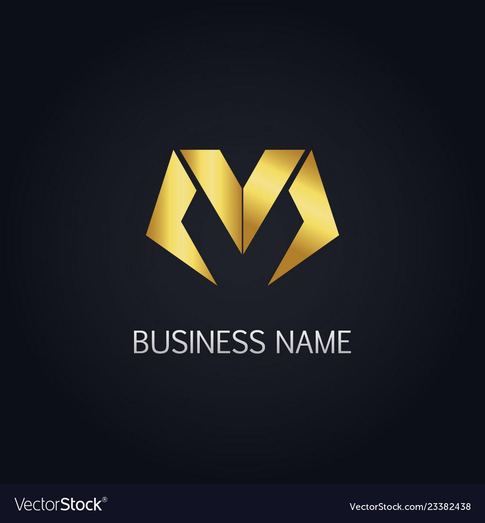 Gold letter m business logo