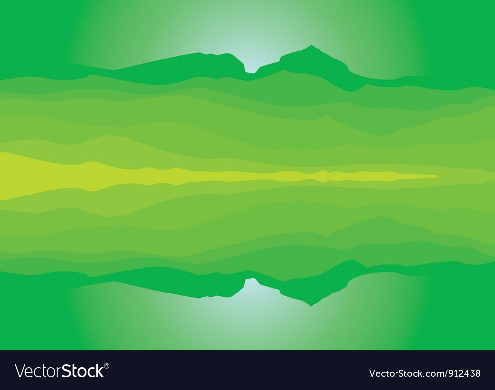 Green mountain landscape silhouette