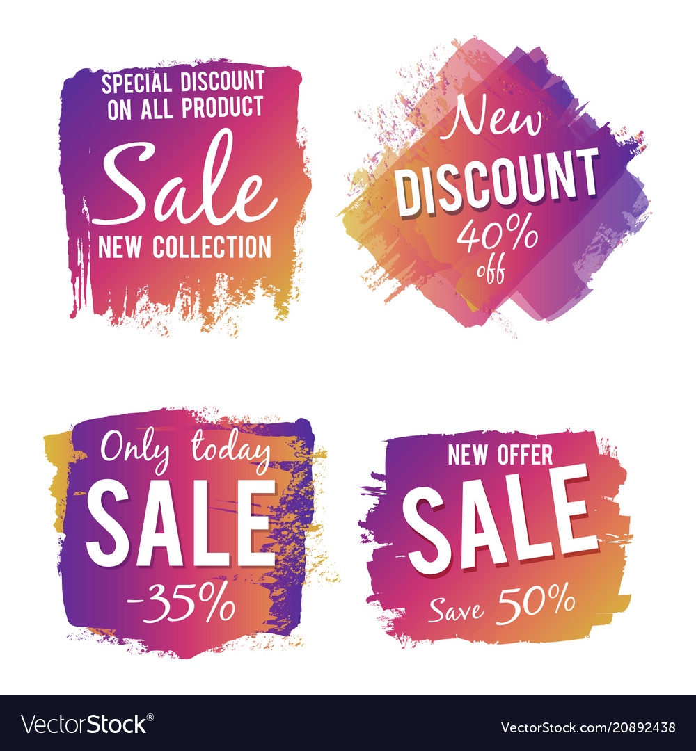 Grunge colorful discount and sale labels isolated