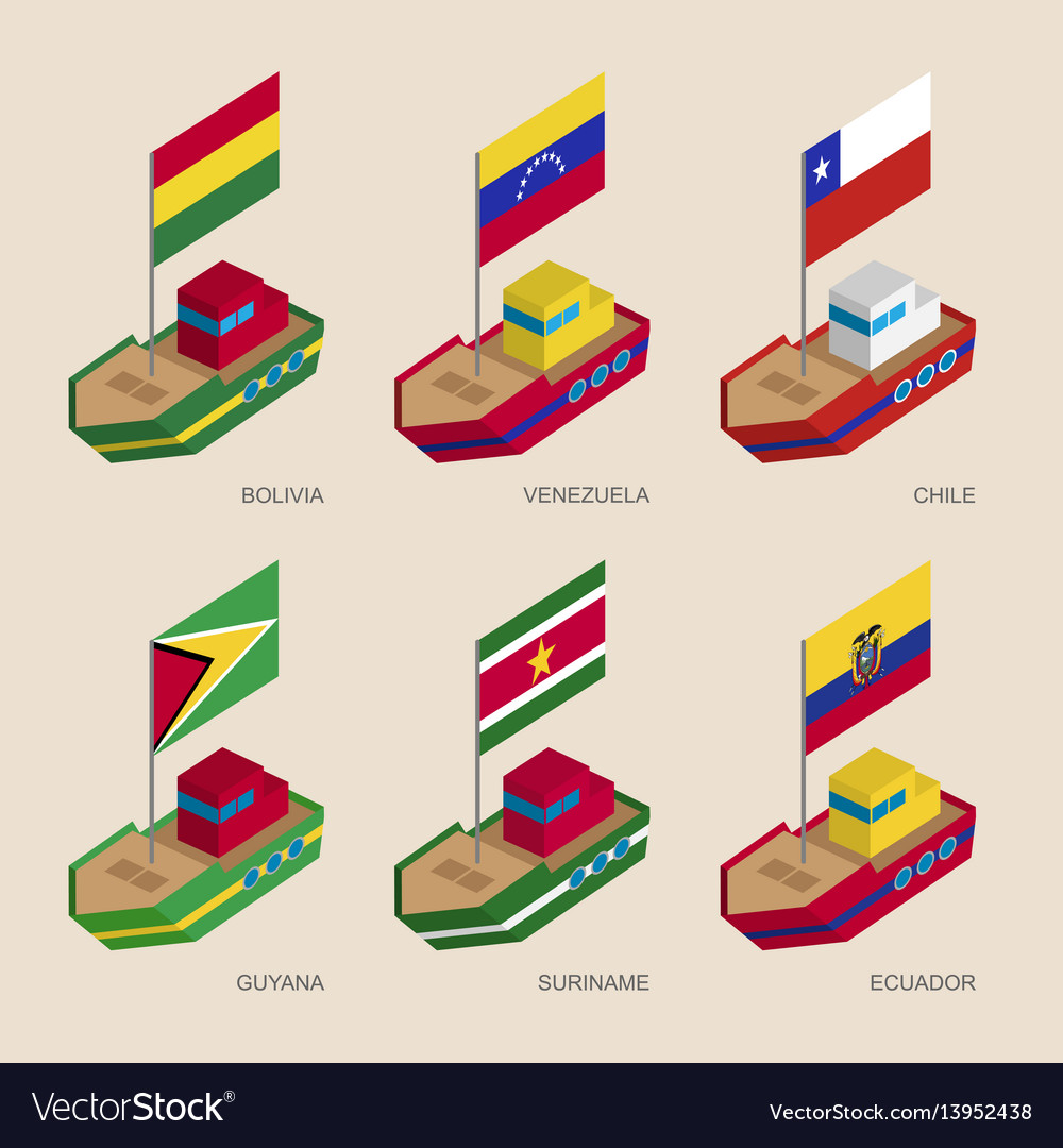 Isometric ships with flags of european countries