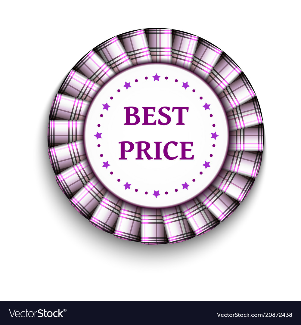Pink light tartan best price badge with ribbon on