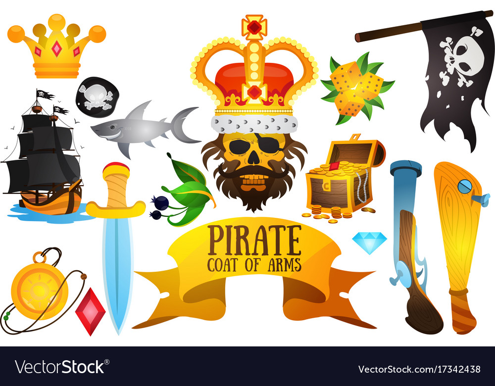 Set with pirate attributes various items medieval