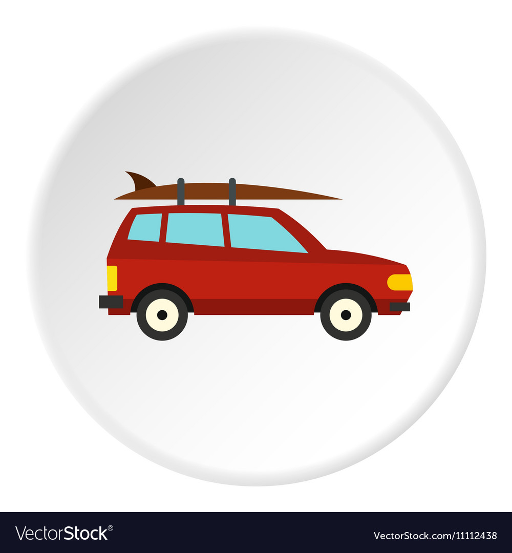 Surfboard car icon flat style vector image