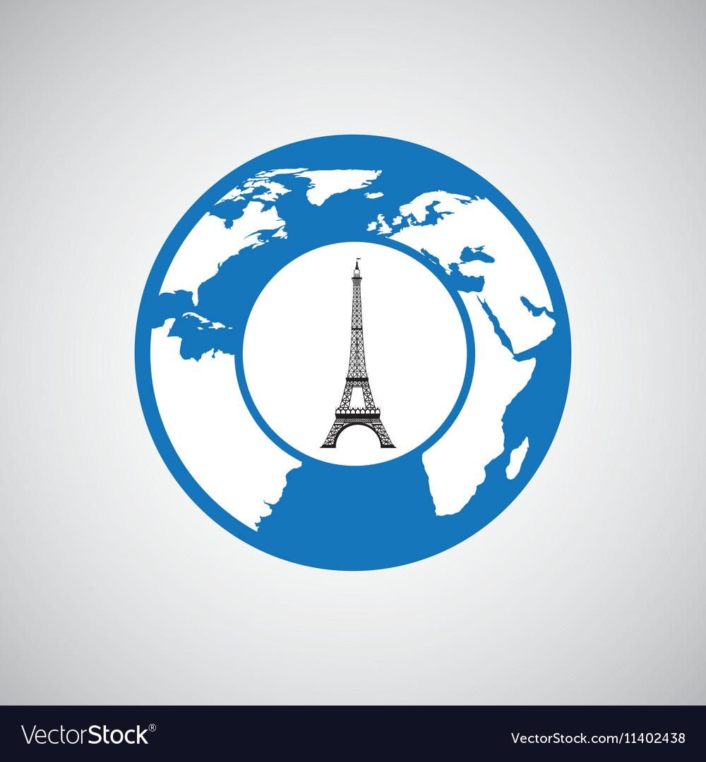 Traveling world paris monument design graphic