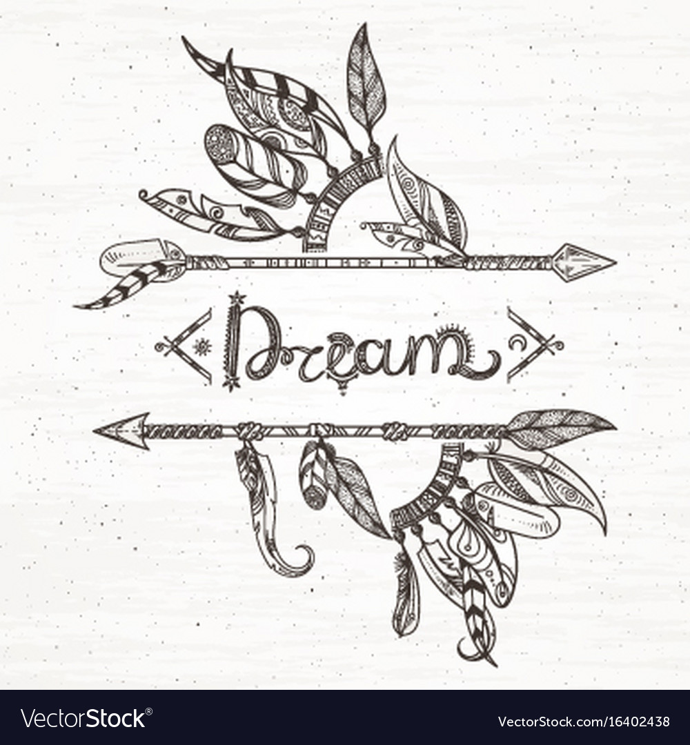Tribal feathers and arrow hand drawn