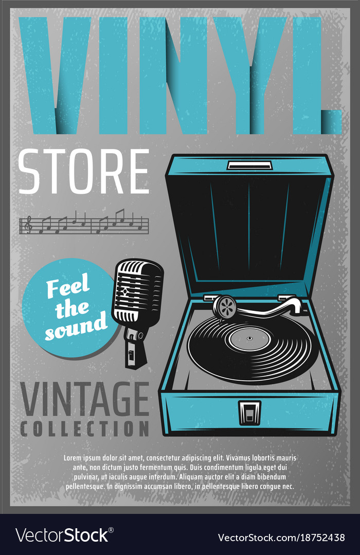 Vintage colored retro music store poster