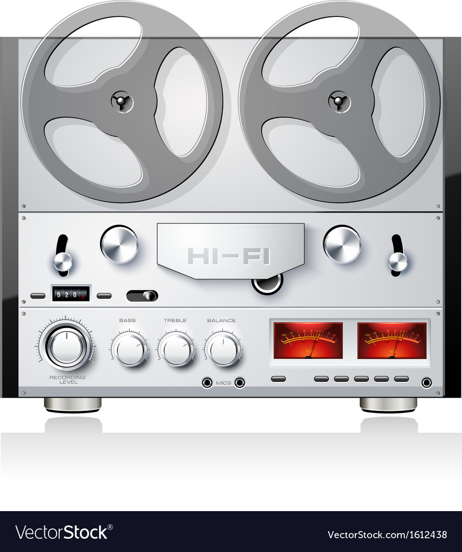 d4d724e90ed4 Vintage open reel analog stereo tape deck player Vector Image